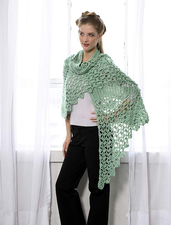Crocheted Lace Triangle Shawl Pattern - Premier Yarns : Deborah