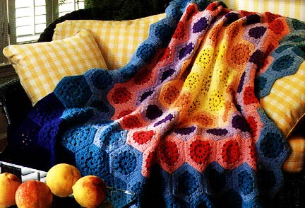 Hexagon & Octagon Motifs Afghan Vintage Crochet Pattern For Sale