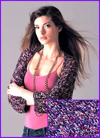 model wearing Multi-color Ribbon Openwork Shrug