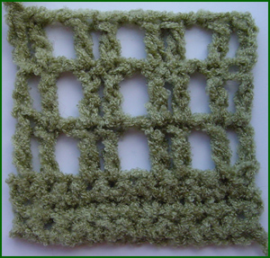 closeup of mesh crochet