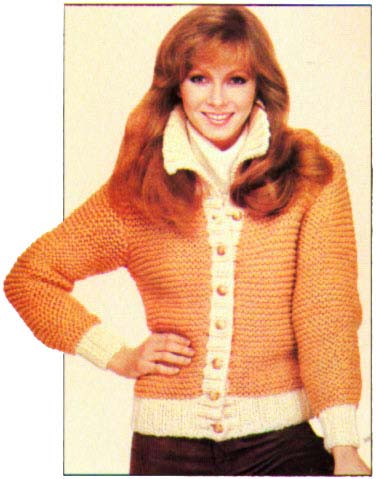 photo of woman wearing a knitted cardigan