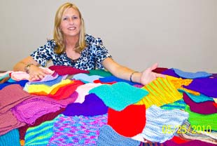 Kim Bell with donates squares