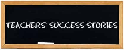 Chalkboard with Teachers Success Stories written