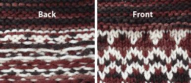 back and front view of Fair Isle technique