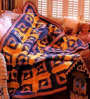 reversible log cabin crocheted afghan