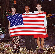 members of Team Bravo with American Flag Afghan