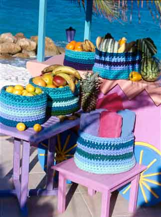 crocheted baskets on tables