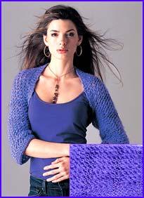 0a7fcbf1f model wearing Grape Striped Openwork Shrug