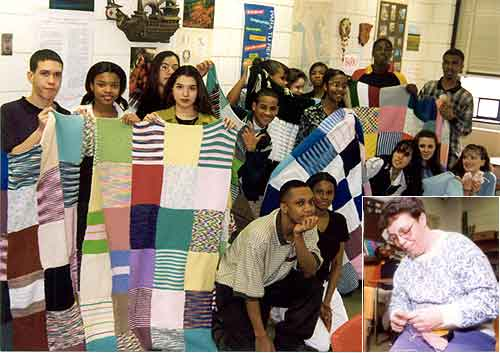 photo of teens with afghans and Rosemarie Carvalho knitting (inset)